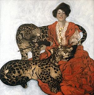 Sarah Stilwell Weber, Woman with Leopards, Collier's, March 17, 1906, cover
