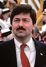 Terry Branstad attends recommissioning ceremony for USS Iowa, Apr 28, 1984