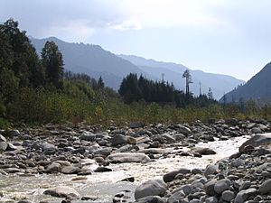 Beas river and mountains as seen from Van Vihar, Manali