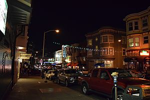 Green Street, North Beach, San Francisco, looking west towards Columbus Avenue