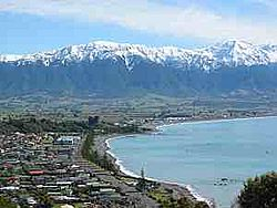 Town of Kaikoura as seen from the peninsula