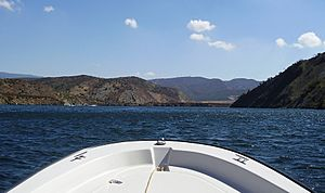 Pyramid Lake, Ca. View South towards dam from boat, Oct 2010