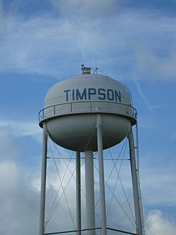 Water tower near U.S. Route 59 (Future Interstate 69) in Timpson