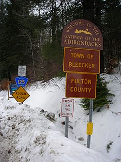 Signage along County Route 125 entering the town of Bleecker and Fulton County