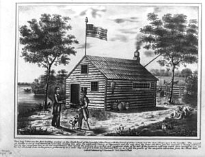 Harrison at cabin on North Bend of Ohio - 1840 lithograph