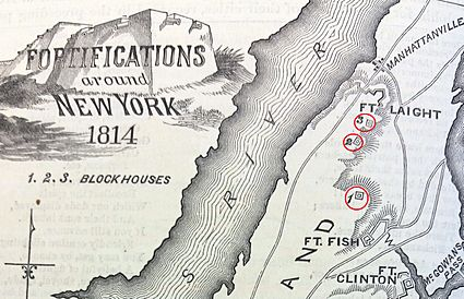 Manhattanville forts showing Blockhouse 1