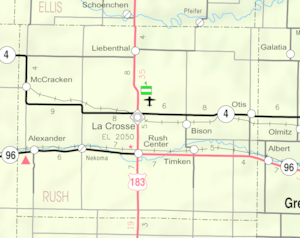 Map of Rush Co, Ks, USA