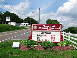 Town of Mount Carmel sign along Main Street