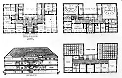 Cambridge, Massachusetts City Hall - Elevation and Floor Plans