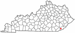Location of South Wallins, Kentucky