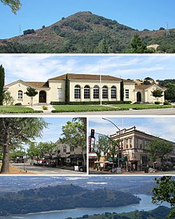 Top to bottom: El Toro, Historic Morgan Hill Stratford School, view of downtown (L), Vowtaw Building (R), Anderson Lake.
