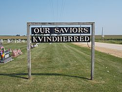Our Savior's Kvindherred Cemetery sign