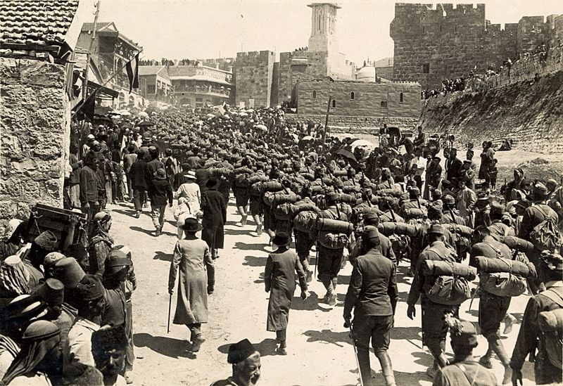 Austrian troops marching up Mt. Zion, 1916