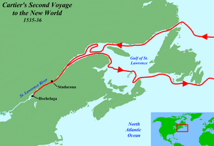 Route of Cartier's second voyage