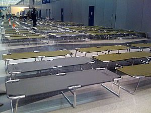 Cots for stranded passengers - O'Hare International Airport