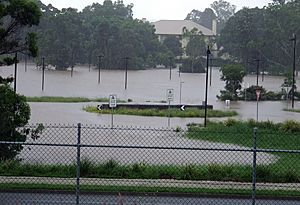 Flooding near the Queensland Tennis Centre and government Animal Research Centre, Yeerongpilly