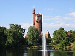 The old water tower in Landskrona is a landmark that can be seen from far away