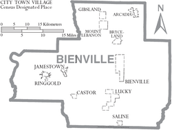 Map of Bienville Parish Louisiana With Municipal Labels