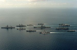 USS New Jersey (BB-62) battle group with Australian ships 1986