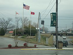 The flags of the states of Tennessee and Alabama and the US flag in Ardmore