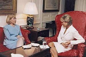 Diana, Princess of Wales, with Hillary Clinton