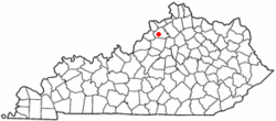 Location of New Castle, Kentucky