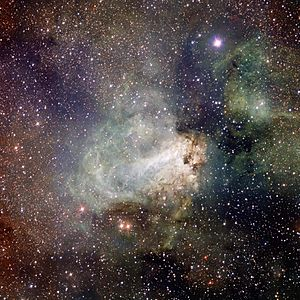VST image of the spectacular star-forming region Messier 17 (Omega Nebula)