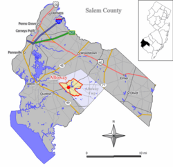 Map of Alloway CDP in Salem County. Inset: Location of Salem County in New Jersey.