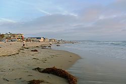 The beach at Pacific Beach looking south