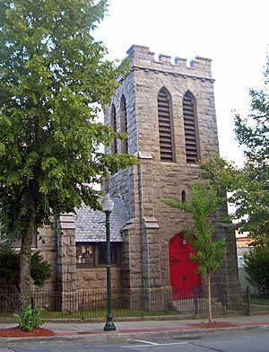 Stone tower of St. Peter's Episcopal Church, from Division Street