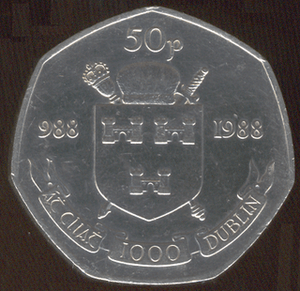 Irish fifty pence (decimal coin for millennium)