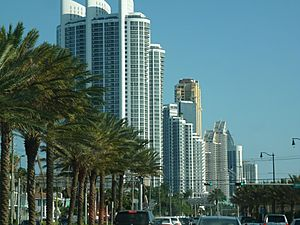 Sunny Isles Beach skyline from north on Collins Ave