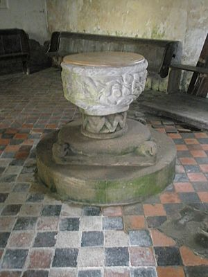 The font at Holy Trinity, Holdgate - geograph.org.uk - 1446808