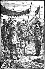 03 Colonel Munro presents Malcolm to the King-Illust by Johan Schonberg for Lion of the North by G A Henty