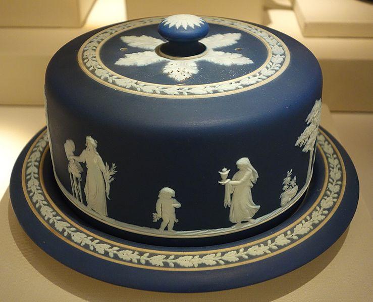 Covered Cheese Dish, Josiah Wedgwood and Sons, c. 1900, blue jasperware - Chazen Museum of Art - DSC01972