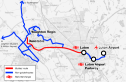 Luton to Dunstable Busway route