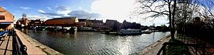 Panoramic Image of Chesterfield Canal in Retford. Taken next to Bay Tree Cafe, on 15 March 2014