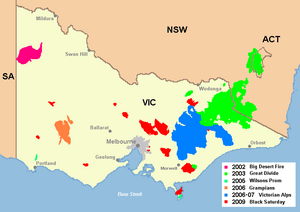 Major Victorian bushfires in the 2000s
