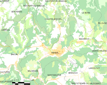 Map of the commune of Mende