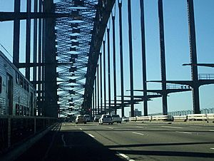 View from car sydney harbour bridge