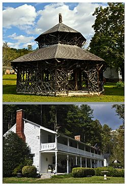National Register of Historic Places in Alleghany Springs, Virginia. Top: Alleghany Springs Springhouse; Bottom: William Barnett House