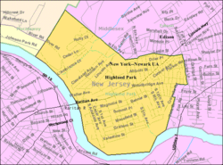 Census Bureau map of Highland Park, New Jersey