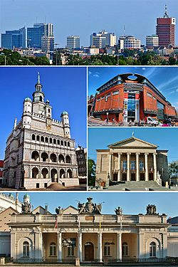 Top: Panorama of PoznańMiddle: Poznań Town Hall, Stary Browar, Opera HouseBottom: Guardhouse