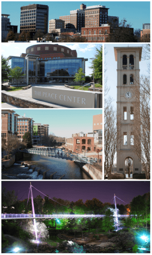 Clockwise from top left: Downtown Greenville, Furman University, Falls Park on the Reedy, Peace Center, Reedy River