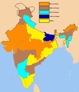Indian state governments led by various political parties