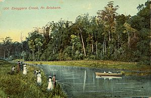 StateLibQld 1 111336 Fishing and boating parties at Enoggera Creek, Brisbane, ca. 1900