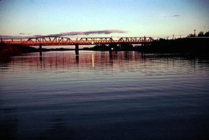 Sun setting on the Rail Bridge at Murray Bridge