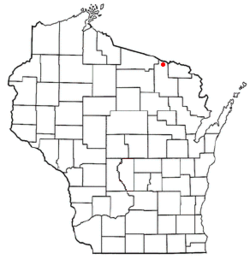 Location of Alvin, Wisconsin