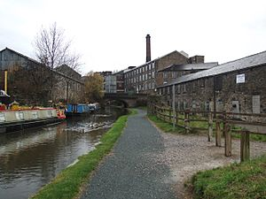 Newtown, New Mills Swizzels Mills from marina 1853