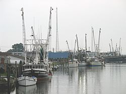 Fishing boats along the waterfront in Chincoteague